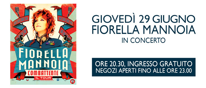 Evento gratuito, Fiorella Mannoia al Sicilia Outlet Village